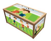 FOOTBALL WOODEN TOY BOX / STORAGE UNIT FOR CHILDREN BOYS ...