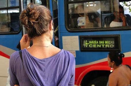 woman bus