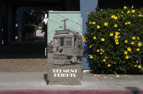Long Beach electric box mural streetcar
