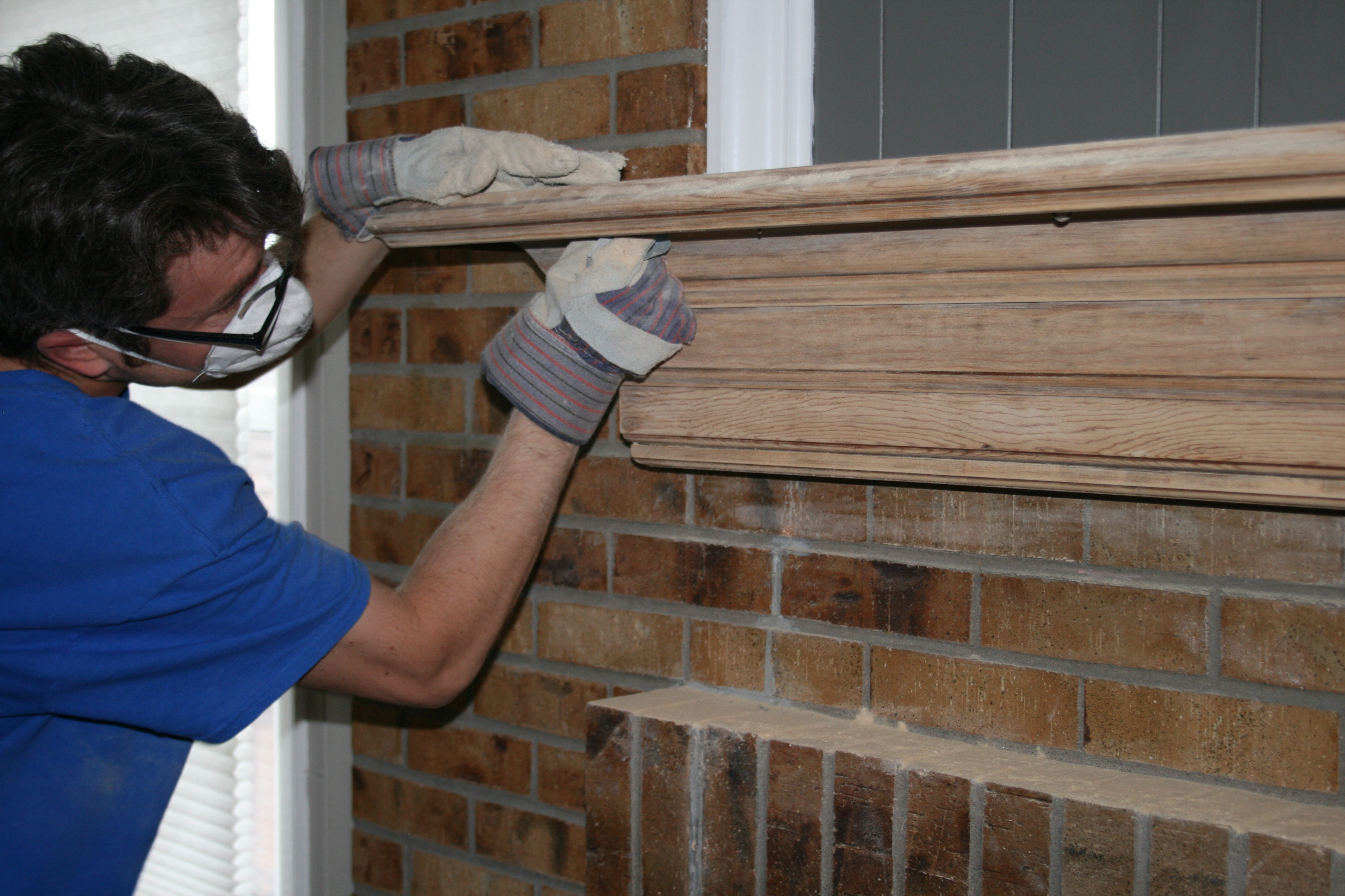 how to stain a fireplace mantel