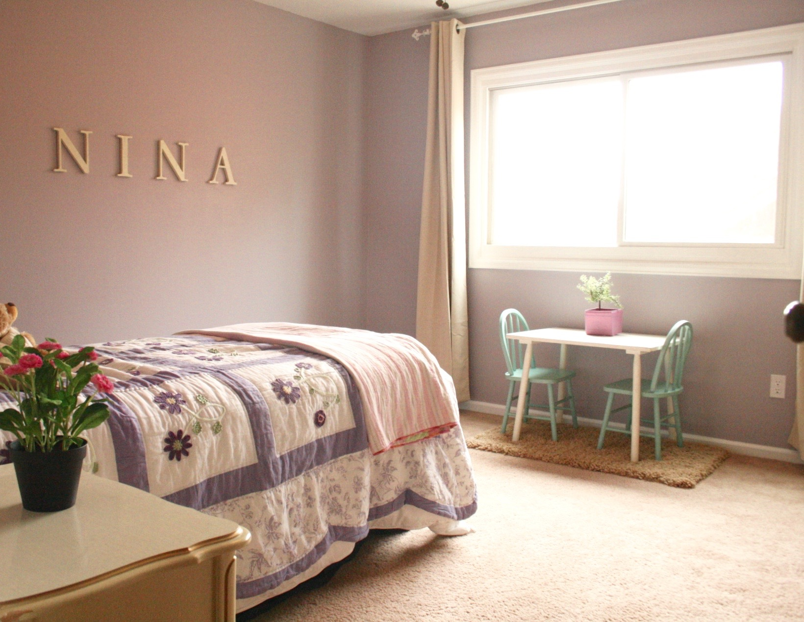 Neutral Bedroom With Pop Of Color