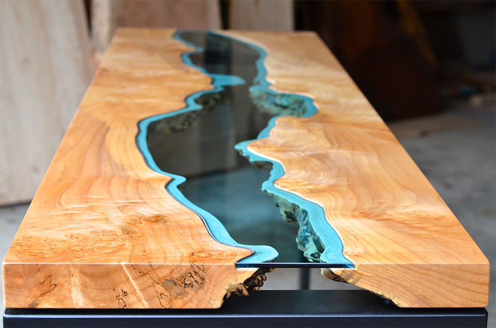 Como Massivholztisch Table Topography: Wood Furniture Embedded With Glass