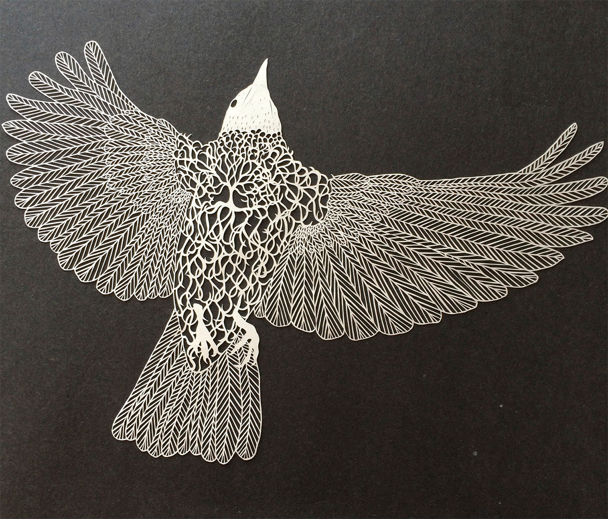 Paper Bird Sculpture Meticulously Cut Paper Illustrations By Maude White Colossal
