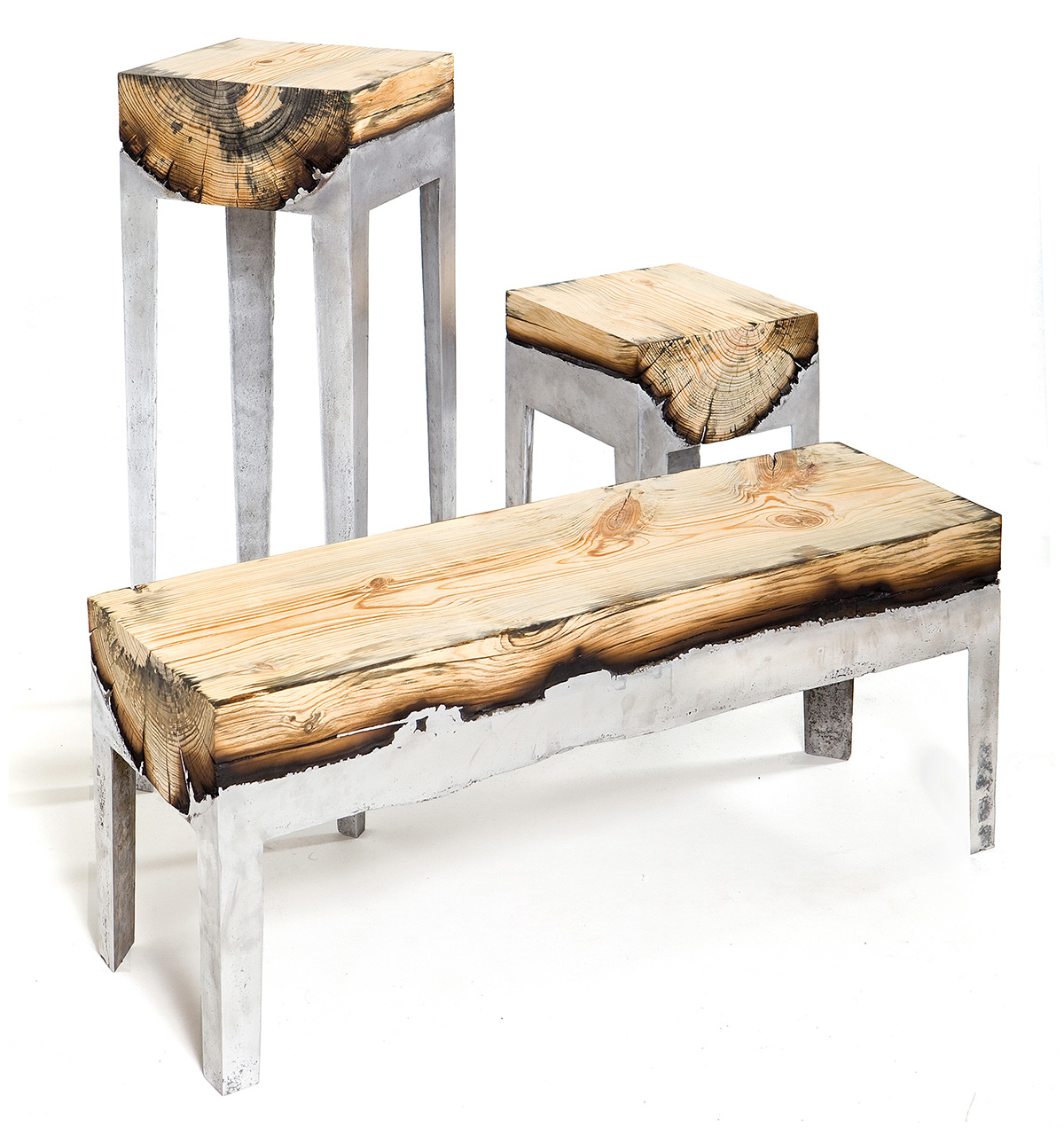 Wood Furniture Design Designer Hilla Shamia Fuses Cast Aluminum And Tree Trunks