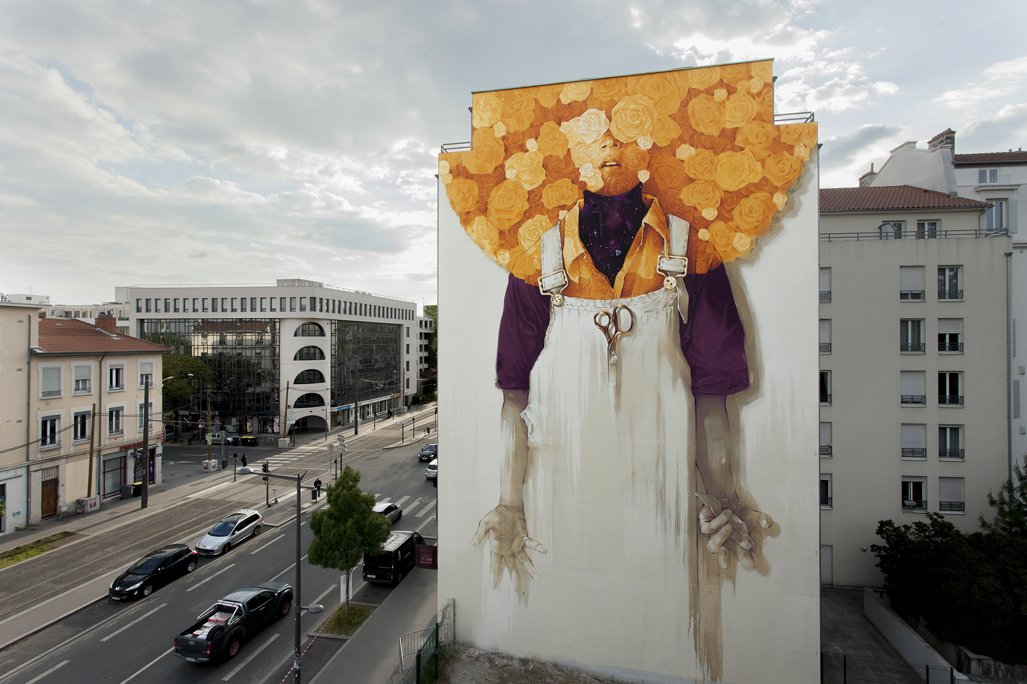 Peintures Mural Radiant Flowers Overlook Lyon France In New Mural By Inti Colossal