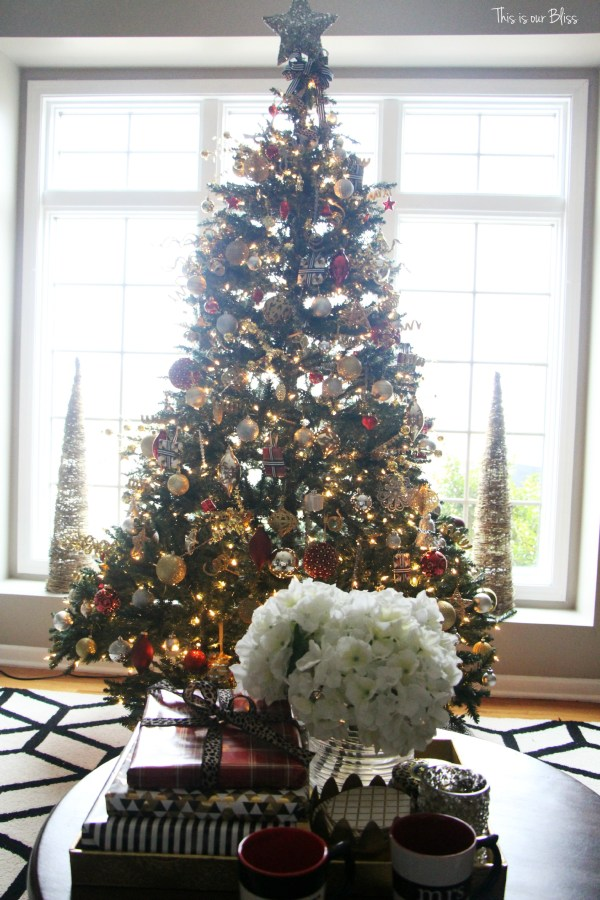 12 days of christmas blogger tour - forma living room coffee table and tree - This is our Bliss
