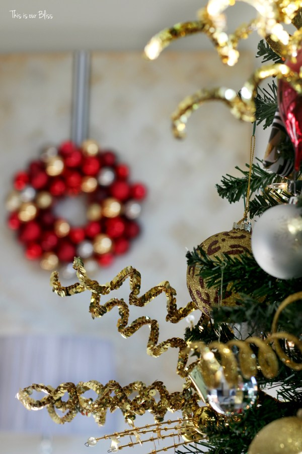 My Home Style Christmas tree edition - bold neutral glam - gold sequin tree picks - thisisourbliss.com