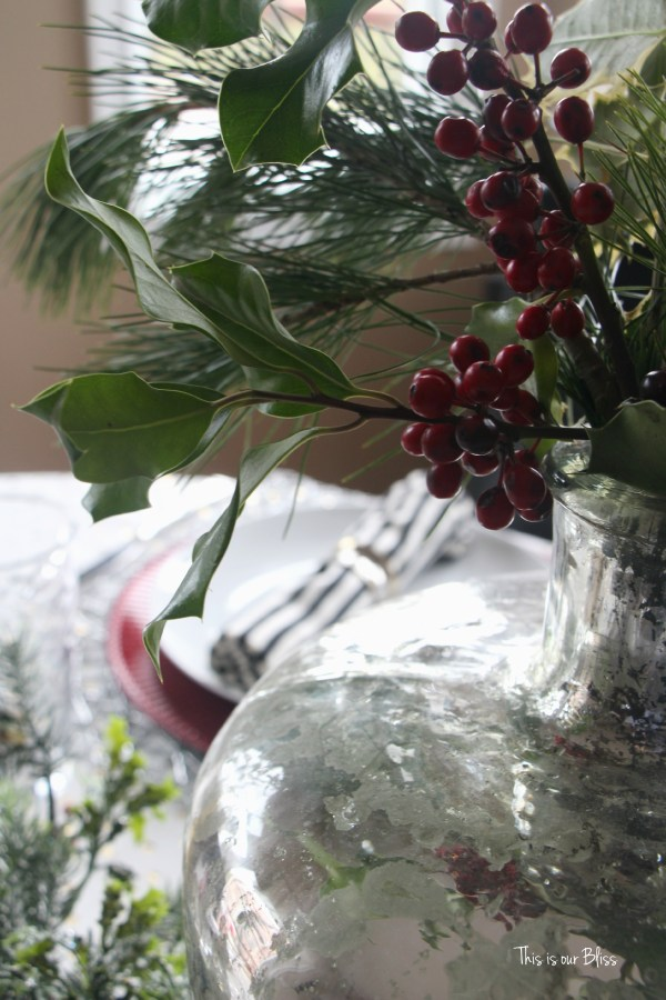 holiday tablesetting - christmas table - trimmings - centerpiece - This is our Bliss