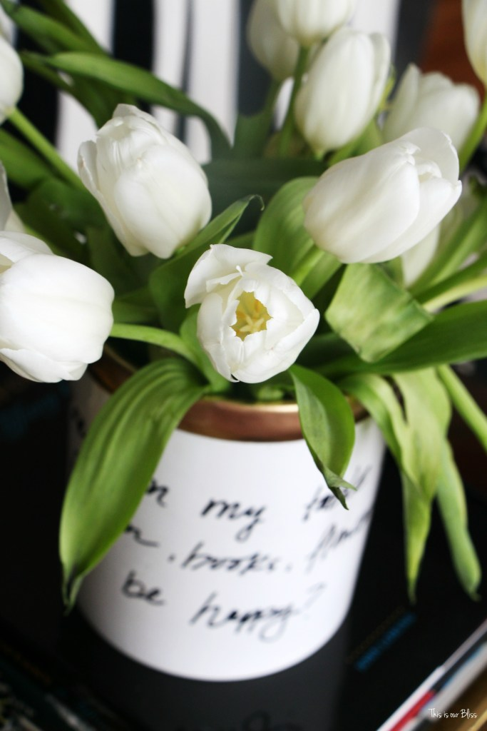 How to DIY your own Kate Spade vase how to create a Kate spade inspired vase - daisy place vase Knock it off DIY challenge This is our Bliss www.thisisourbliss.com