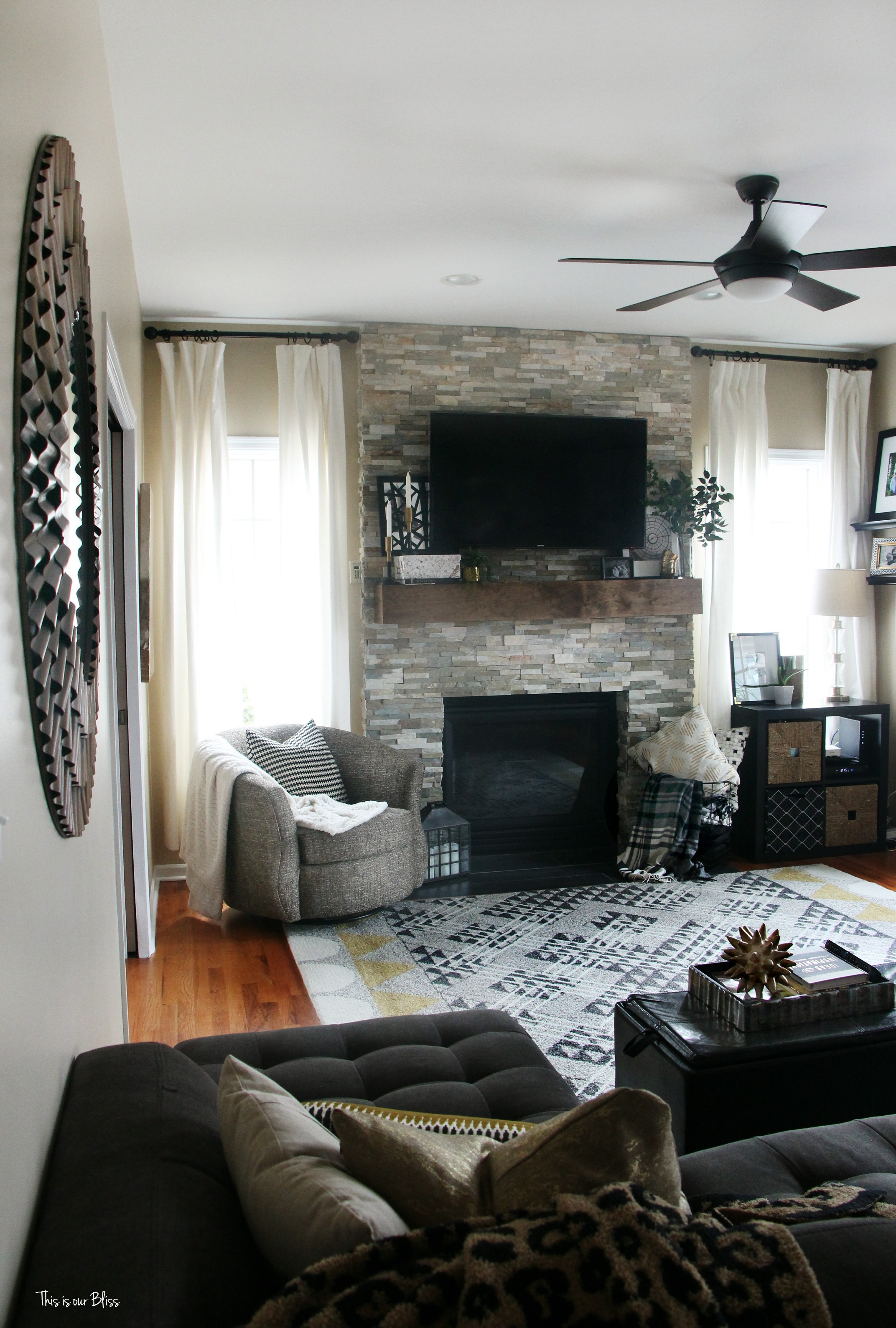 Rustic Family Room How To Style A Mantel A Table Top Blog Hop This Is Our Bliss