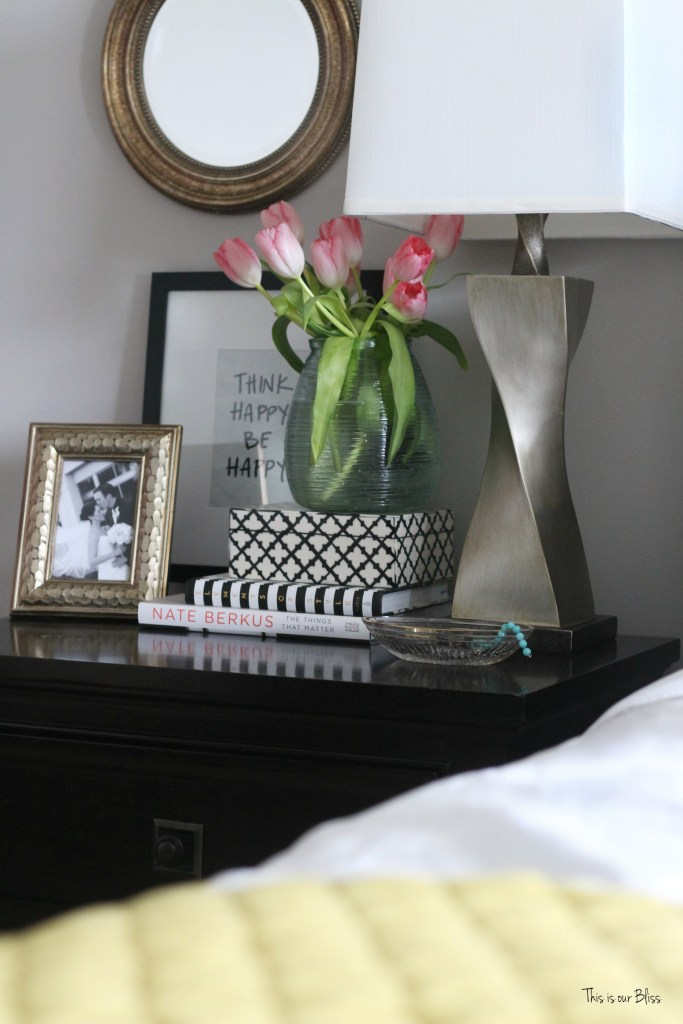 new year, new room refresh challenge - Master bedroom refresh - gold decor - how to style a nightstand - bedside table & fresh flowers - This is our Bliss - www.thisisourbliss.com