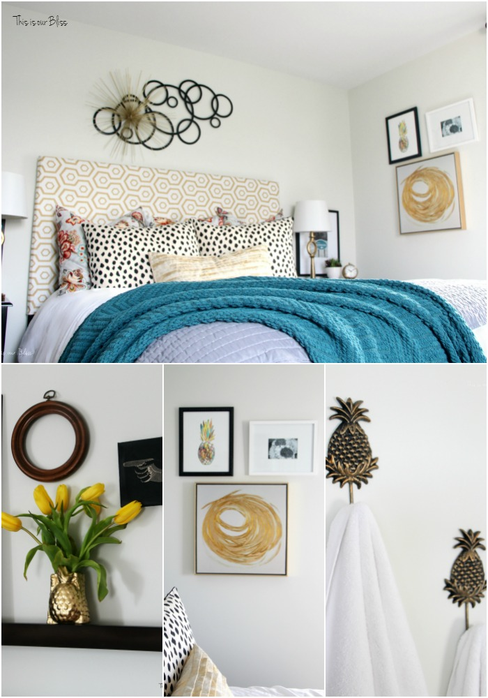 Pineapple pieces in the guestroom | pretty gold pineapple vase | its so ugly its cool thrift challenge || This is our Bliss