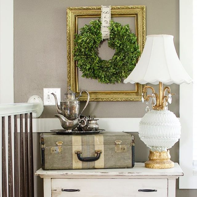 Loving this little vignette by brookestartathome! Such great thrifted findshellip
