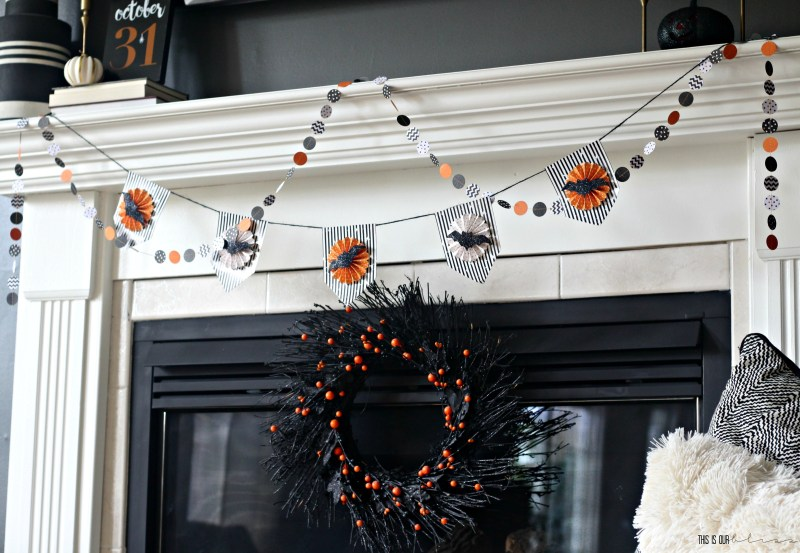 Simple Halloween Mantel | with paper garland | no-fuss Halloween decorating | This is our Bliss | www.thisisourbliss.com