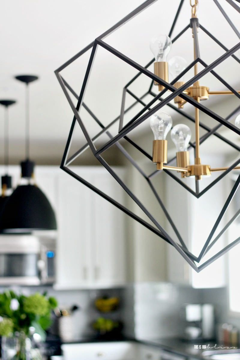 Black Kitchen Light White And Green Kitchen Reveal Part 2 Black And Gold Geometric