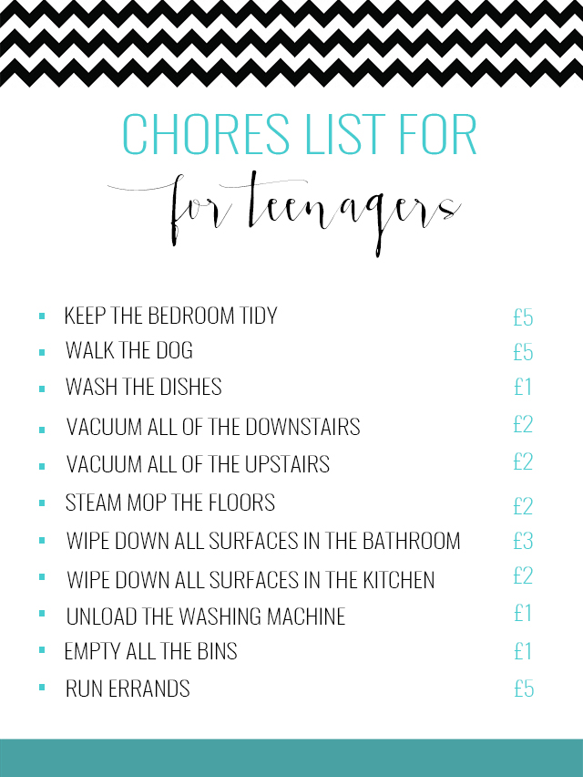 CHORES LIST FOR TEENAGERS  WHAT WE PAY - This Mama Life  Style
