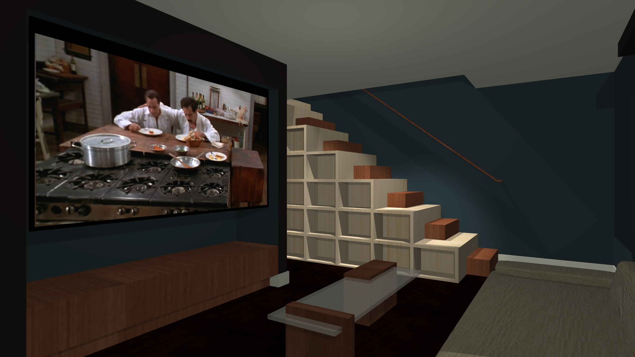 Bookcase Stair Railing Media Room Stair And Bookcase This Modern Home