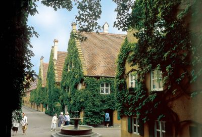 View into the Herrengasse of the Fuggerei.