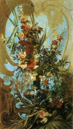 Hans Makart (1840-1884) Grosses Blumenst?k [Large Flower Piece] Oil on canvas, c.1884 80 5/8 x 46 3/8 inches (205 x 118 cm) ?tereichische Galerie Belvedere, Wien