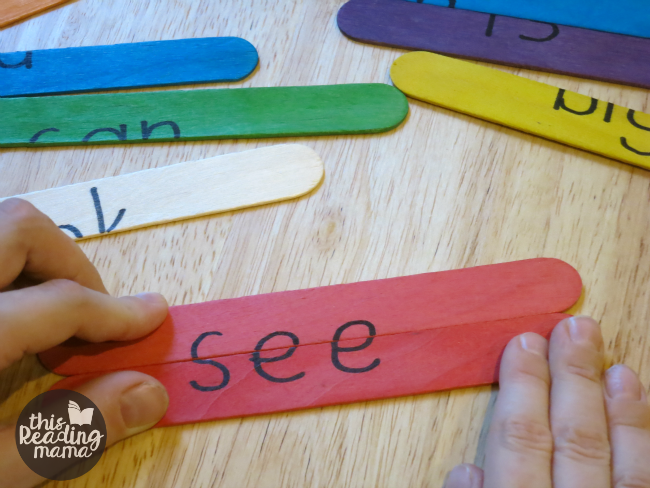 working the sight word puzzles with craft sticks