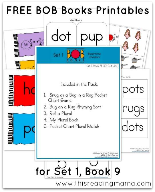FREE BOB Book Printables Set 1 Book 9 10 Cut Ups