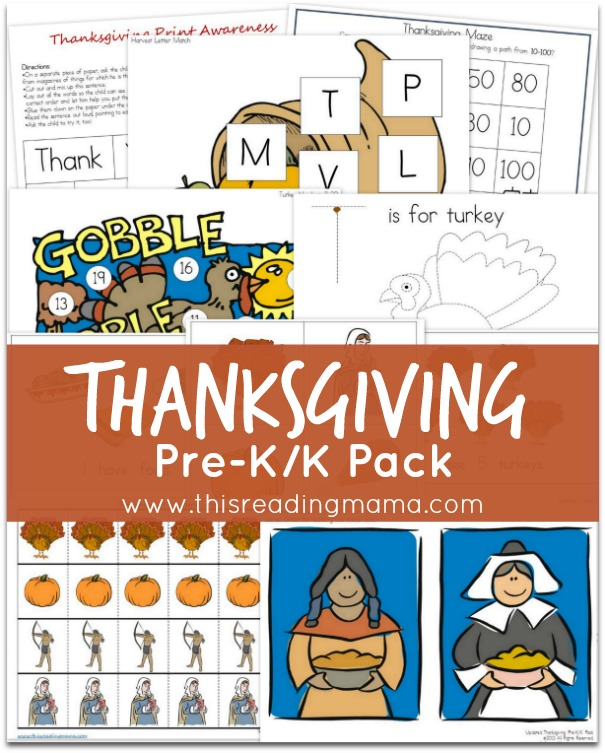 Thanksgiving Pre-K-K Pack {FREE} | This Reading Mama
