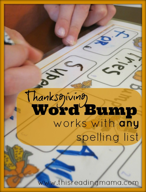 FREE Thanksgiving Word Bump Works With Any Spelling List!