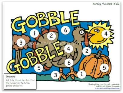 roll 1 die and cover numbers 1-6 on the turkey picture | This Reading Mama