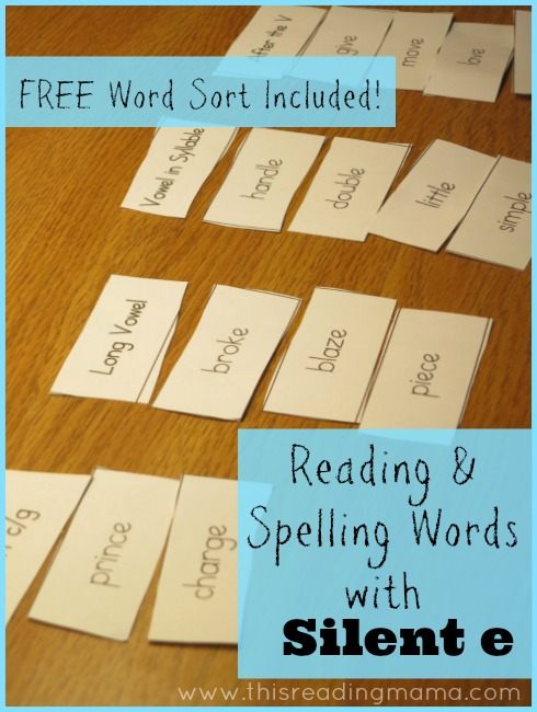 Reading and Spelling Words with Silent e (free word sort included) | This Reading Mama
