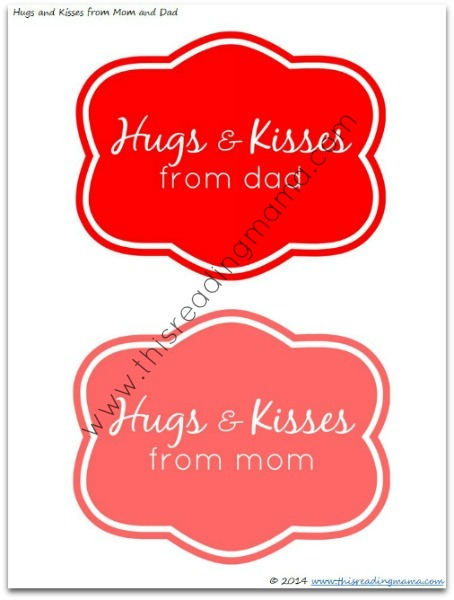 FREE Hugs and Kisses Labels for Dads and Moms | This Reading Mama