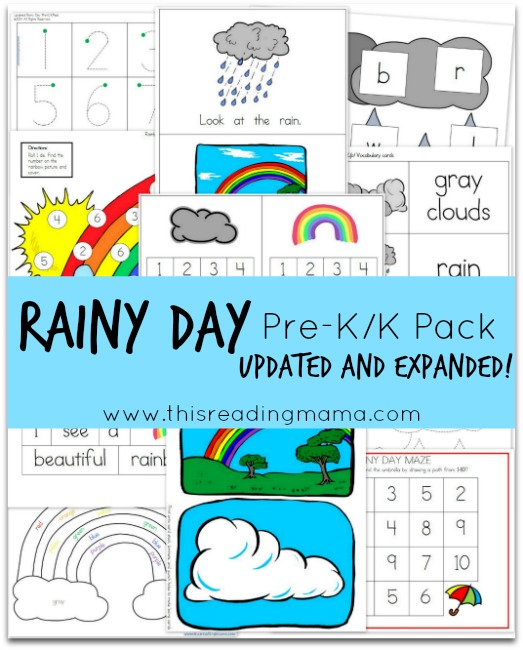 FREE Rainy Day PreK-K Pack {Updated and Expanded} | This Reading Mama