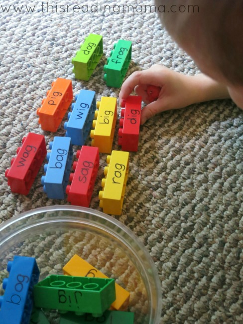 sorting words with DUPLO LEGO bricks