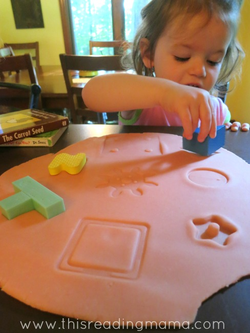 working puzzles with playdough
