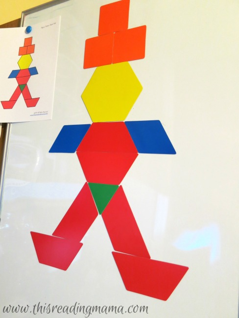 making pictures with giant magnetic pattern blocks