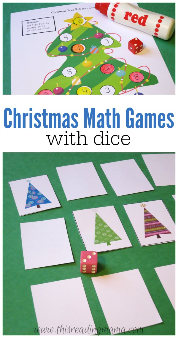 Christmas Math Games with Dice - FREE Printable Pack - This Reading Mama
