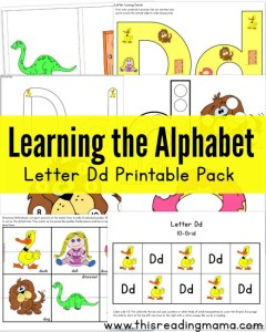 Learning the Alphabet Letter D Printable Pack