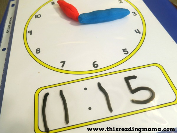 using clock playdough mats for teaching analogue and digital time