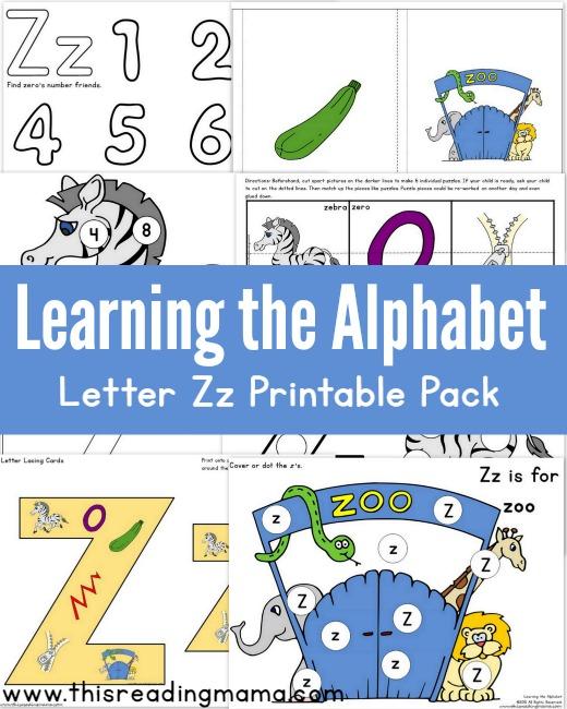 Learning the Alphabet - FREE Letter Z Printable Pack