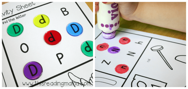 find the letters with counters or dot paint
