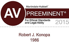 Robert J. Konopa AV Rated for ethics and legal ability by Martindale-Hubbell