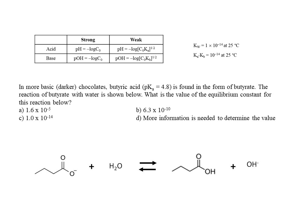 Solved In More Basic (darker) Chocolates, Butyric Acid (p