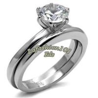 Simple 1.3ct Solitaire CZ Stainless Steel Wedding ...