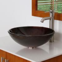 Unique Color Tempered Bathroom Glass Vessel Sink & Brushed ...
