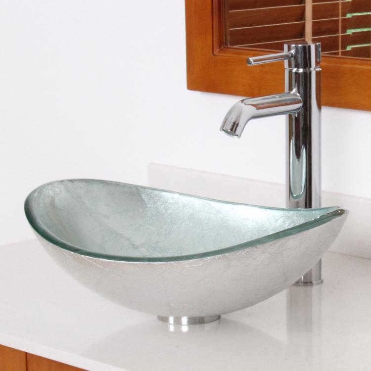 Unique Oval Artistic Silver Bathroom Glass Vessel Sink
