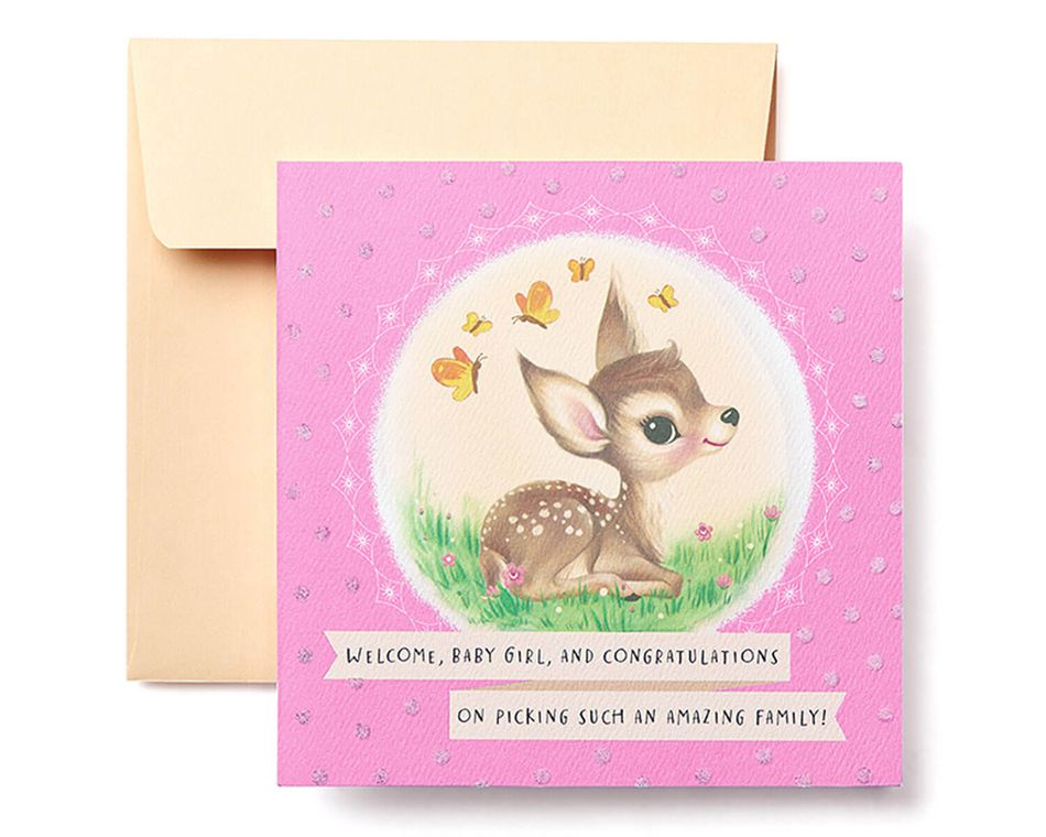 Deer New Baby Girl Congratulations Greeting Card - American Greetings - greeting for new baby girl