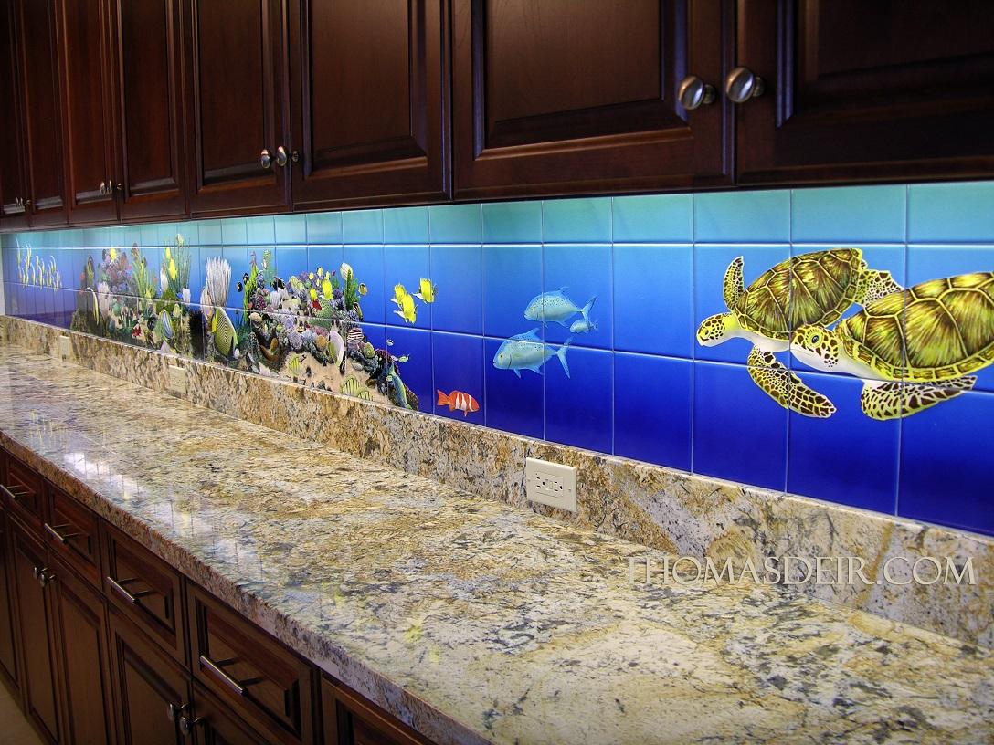 tropical fish kitchen tile murals thomas deir honolulu artist ceramic tile mural kitchen tiles