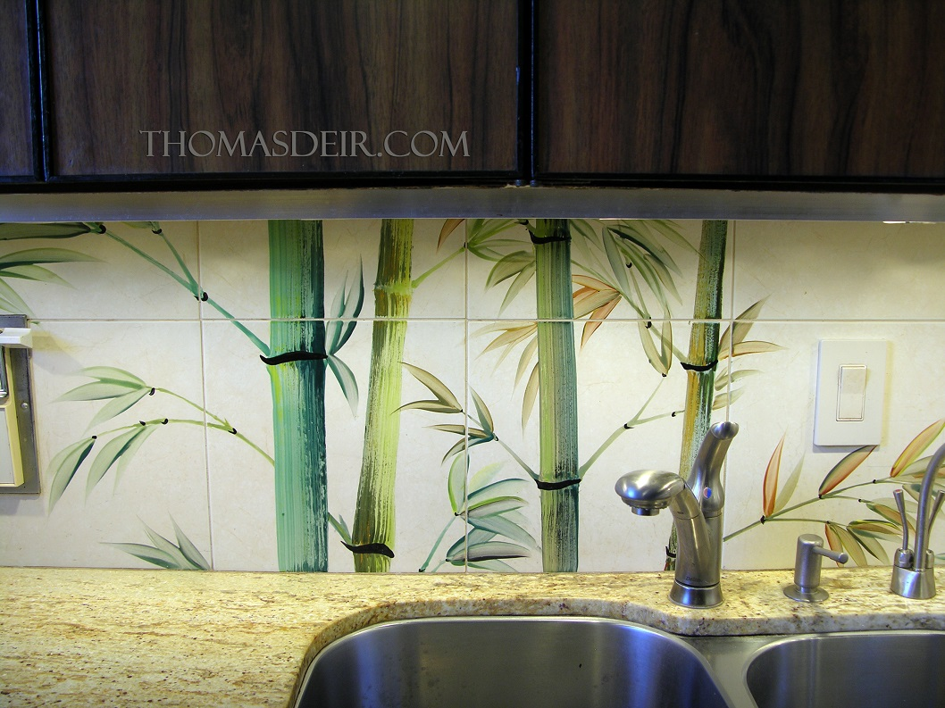 Bamboo Backsplash Kitchen Remodel Asian Bamboo Tile Murals Thomas Deir