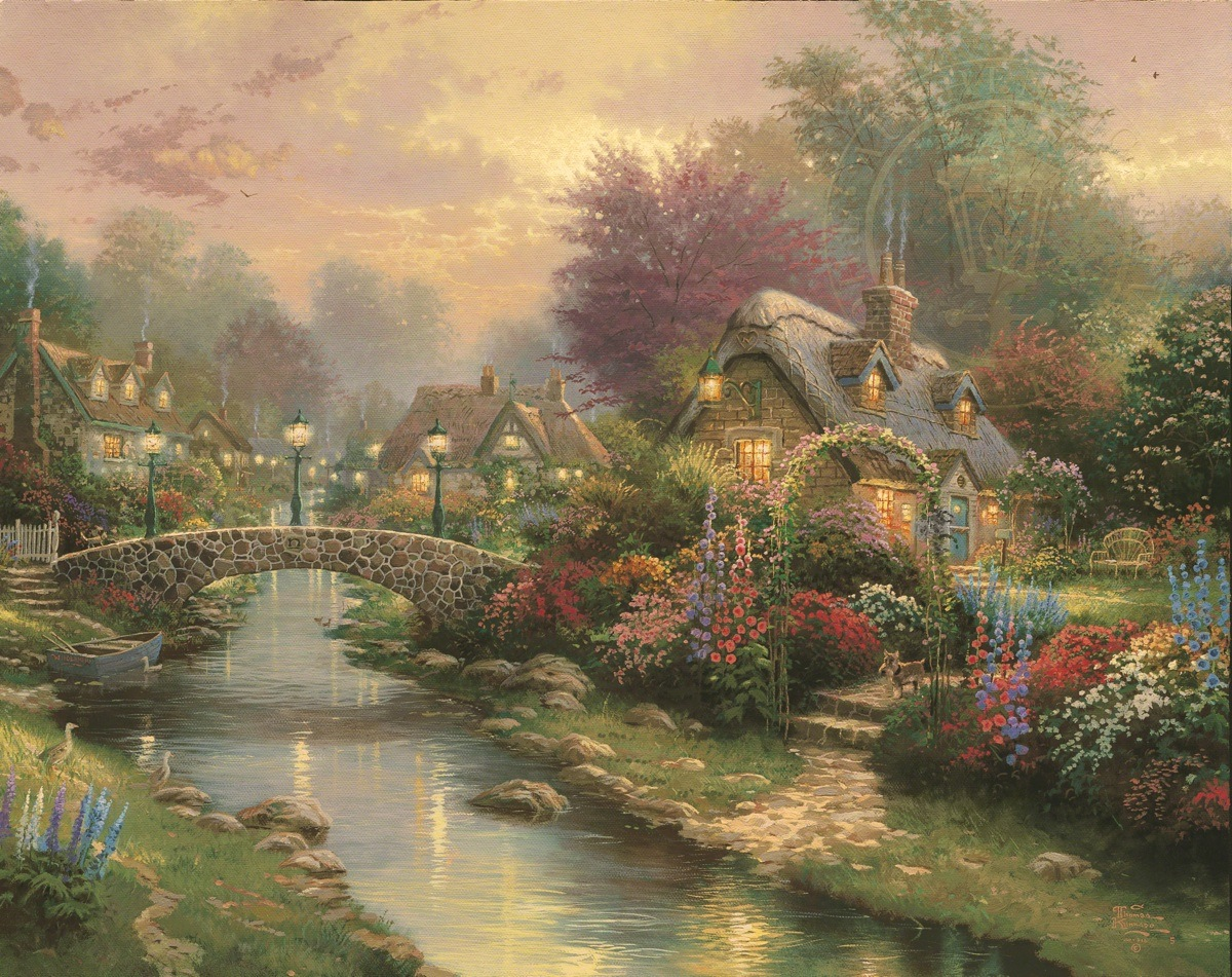 Cozy Fall Hd Wallpaper Lamplight Bridge The Thomas Kinkade Company
