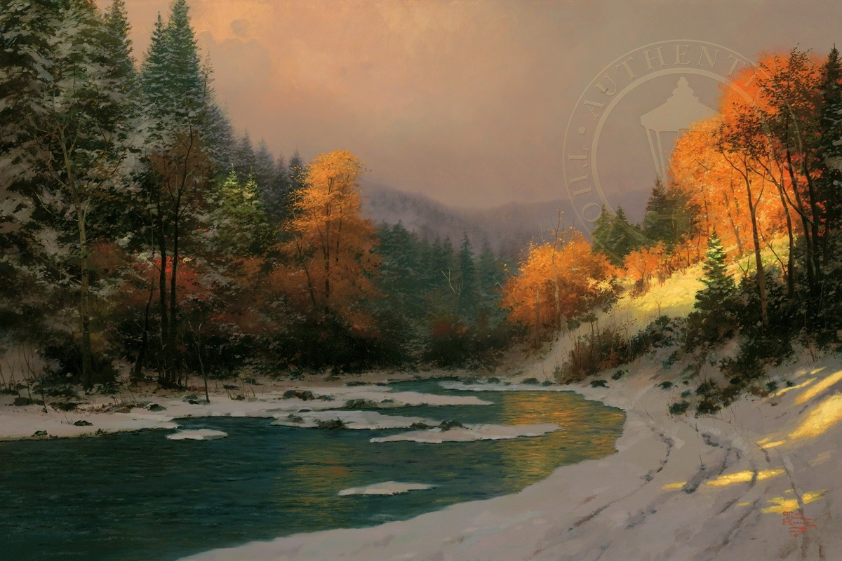 American Paint And Wallpaper Fall River Autumn Snow Limited Edition Art The Thomas Kinkade Company