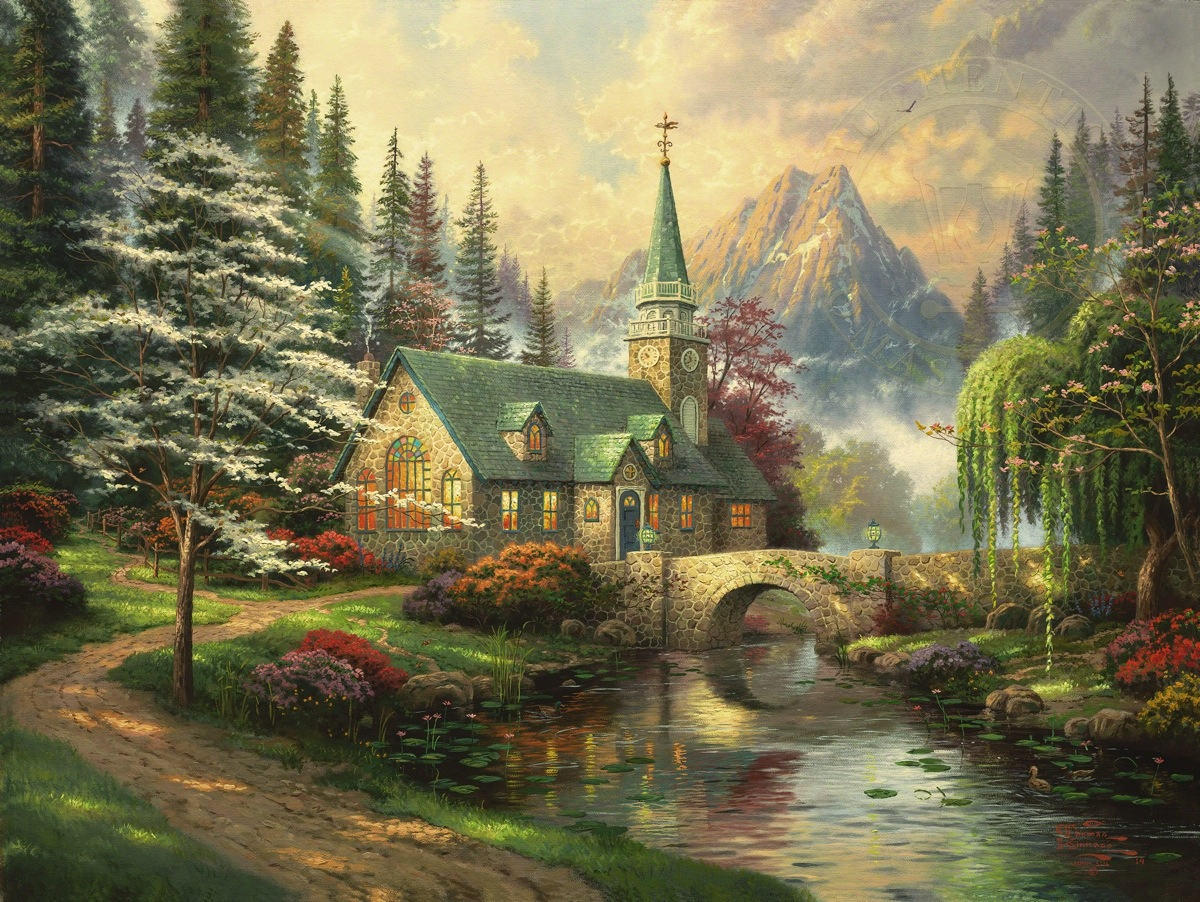 Serene Wallpapers Large Fall Dogwood Chapel Limited Edition Art The Thomas Kinkade